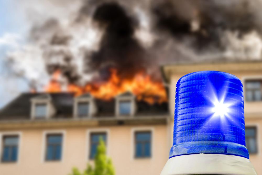 Blaulicht bei Brand